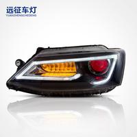 适用于大众速腾大灯总成12年款 光导LED改装汽车大灯 双光透镜 恶魔眼 远征车灯